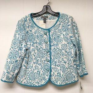 Kate Hill New Blazer Jacket Brocade Teal Sz 12